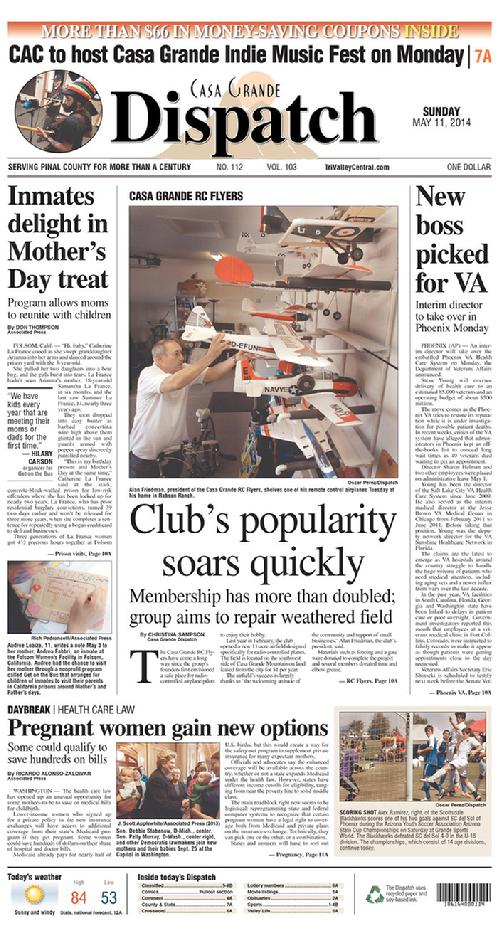 Front Page Of The May 11, 2014 Casa Grande Dispatch