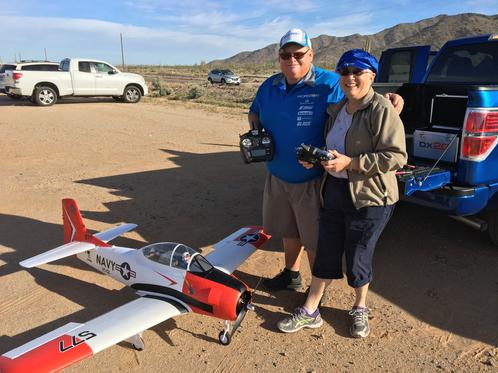 Nancy Friedman With Tony Quist From Horizon Hobby Before Trying Out His T-28 Carbon