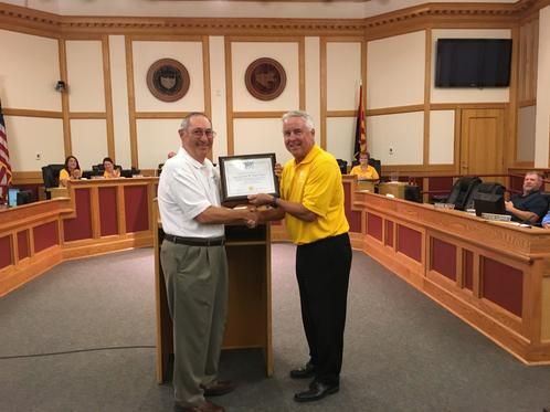 Club President, Alan Friedman (L) Presented Our Gold Level Leaders Club Plaque To The Casa Grande Mayor Craig McFarland (R) On 9-5-17